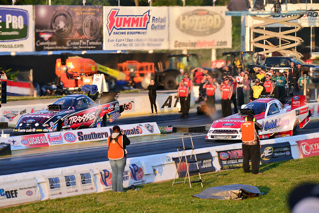 Final finish order () at the 38th annual NHRA Southern Nationals Powered by Mello Yello at Atlanta Dragway. The race is the seventh of 24 events in the NHRA Mello Yello Drag Racing Series.