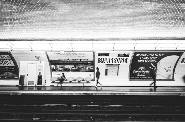 Waiting for the metro at the Saint Ambroise stop in Paris.