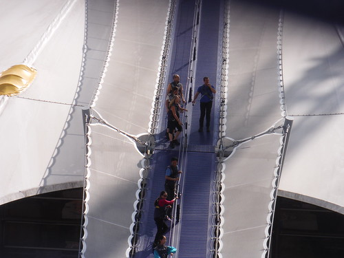 In Full Harness on the roof of the O2-Dome