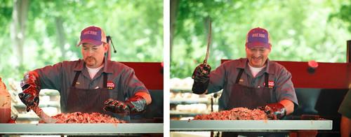 chopping pulled pork at BABBQBP