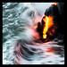 Molten lava meets Pacific Ocean by SparkyLeigh