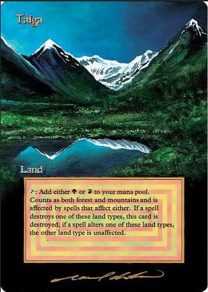 Taiga Altered Art magic the gathering art Taiga dual land alpha beta unlimited artwork