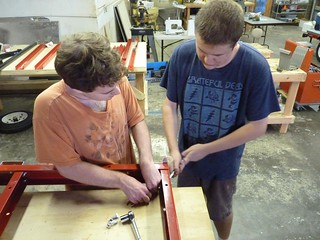 Ian and Connor building the trailer