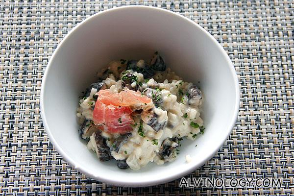 Freshly prepared mushroom risotto