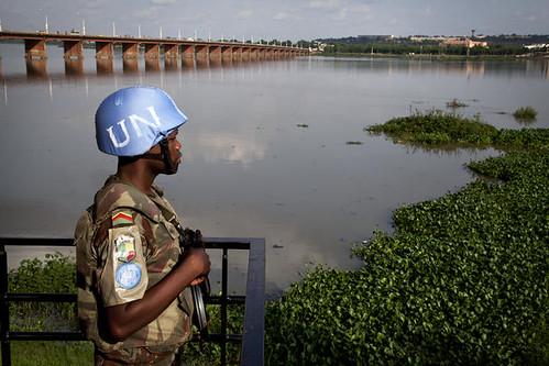 MINUSMA Peacekeeper Patrols Site of Mixed Commission Meeting, Bamako