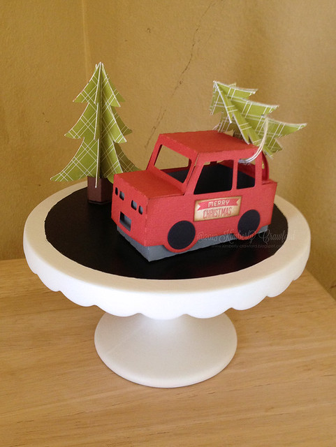 Christmas truck and trees from Holiday Cards and More Paper Crafts Magazine by Kimberly Crawford