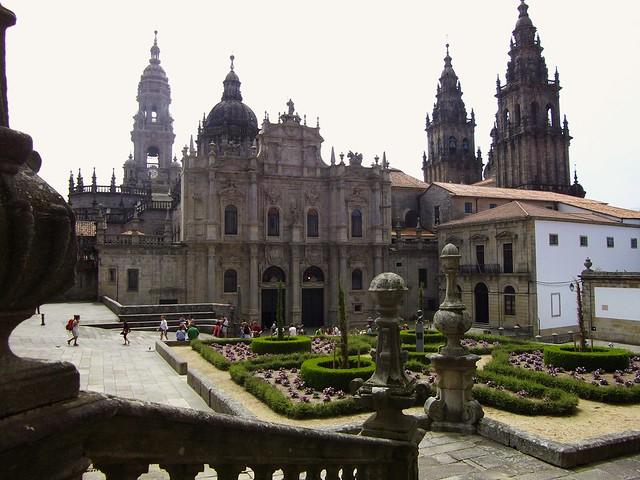 Façade nord ou de l'Azabacheria de la cathédrale, Plaza de la Inmaculada, St Jacques de Compostelle, province de La Corogne, Galice, Espagne.