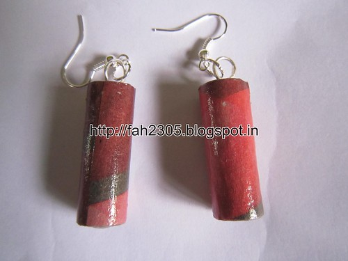 Handmade Jewelry - NewsPaper Rolled Bar Earrings (1) by fah2305