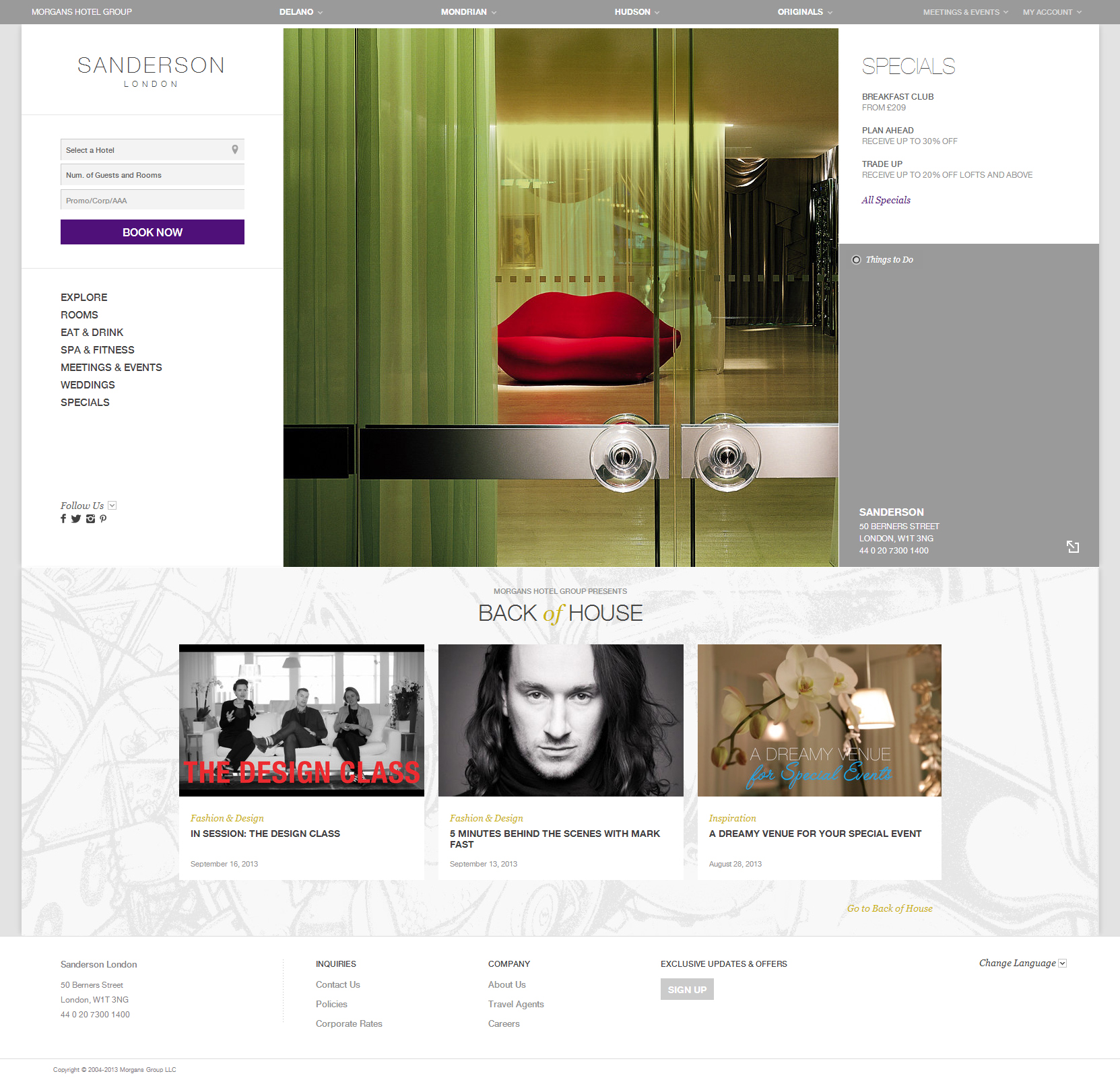 Website Inspiration - Sanderson Hotel