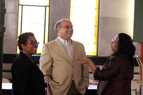 Dr. Padmini Murthy (right),  Frank Messa (middle) and Gretchel Hathaway
