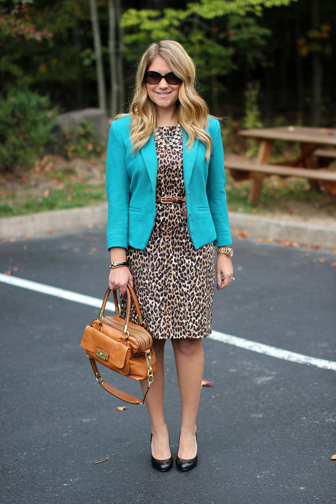 teal blazer and leopard print dress work outfit