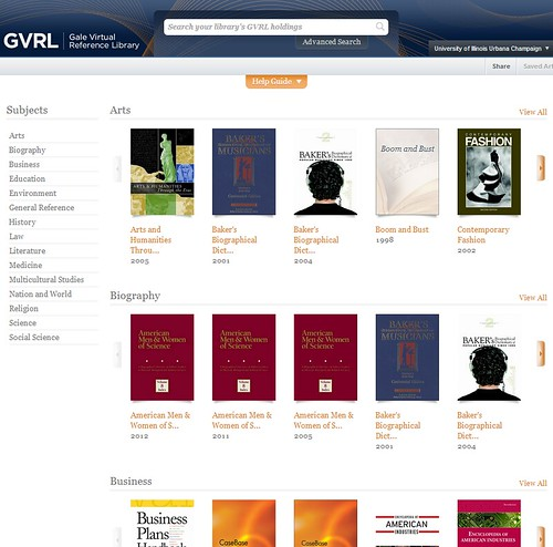 Home page of Gale Virtual reference library with a search box at the top, subjects listed down the left column, and images of resources in the center