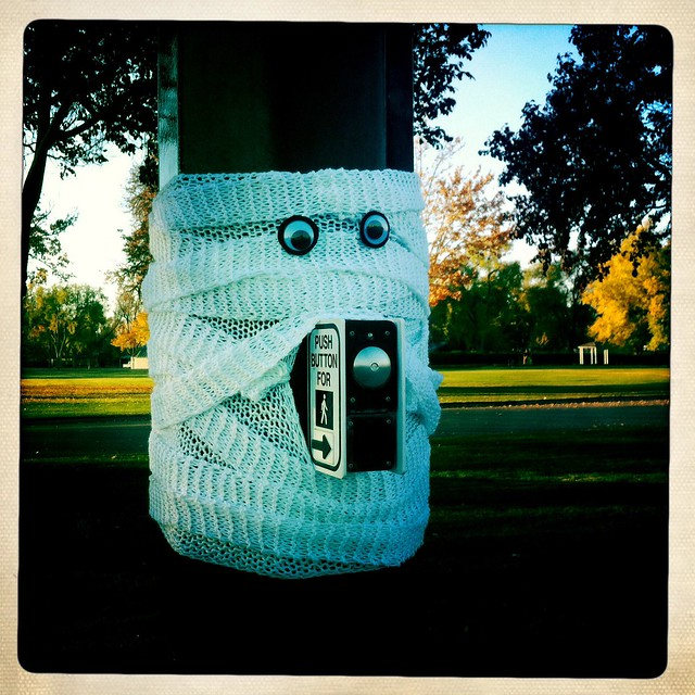 mummy yarn bomb for Halloween