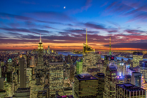 city nyc newyorkcity sunset moon newyork skyline night clouds buildings landscape downtown cityscape cloudy manhattan rockefellercenter explore empirestatebuilding gothamist bluehour hdr topoftherock