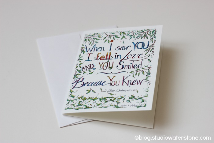 """when i saw you"" shakespeare quote card"