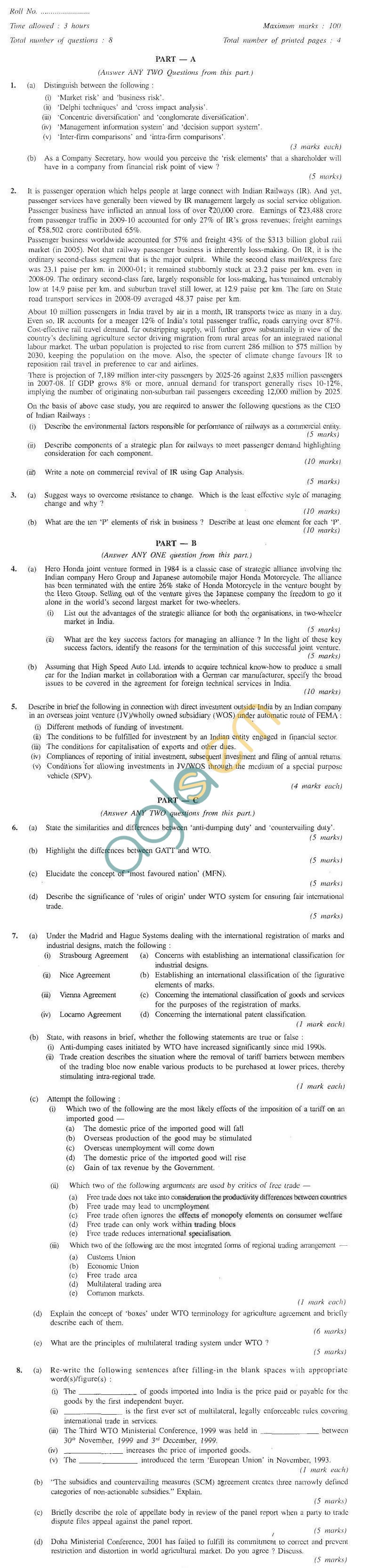 CS Professional Question Papers Jun 2011 - Advanced Tax Laws and Practice Module III