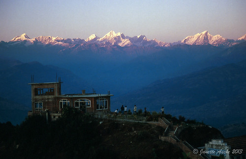 travel nepal mountains building film sunrise 35mm asia view 1988 slide snowcapped fujifilm himalayas scannedslide nagarkot mteverest centralregion