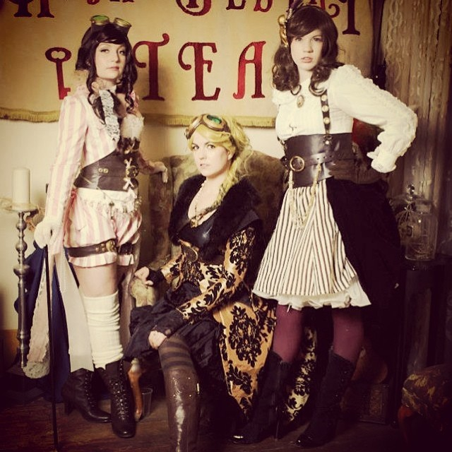 Going to a steampunk Christmas party put on by High Desert Steam. Super Excited!! I love our local steampunk events! Here is myself (L) with @ladystaba (M) and @charmiesweets(R)  from last year's Steampunk ball. Tonight Lady Staba will be joining me. If y