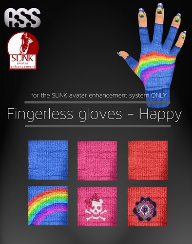 A:S:S - Slink fingerless glove appliers - Happy by Pho Vinternatt