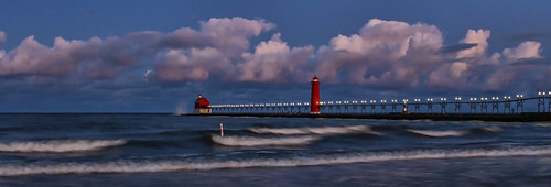 blue lighthouse water clouds pier waves michigan lakemichigan grandhaven westmichigan 2013 kevinpovenz
