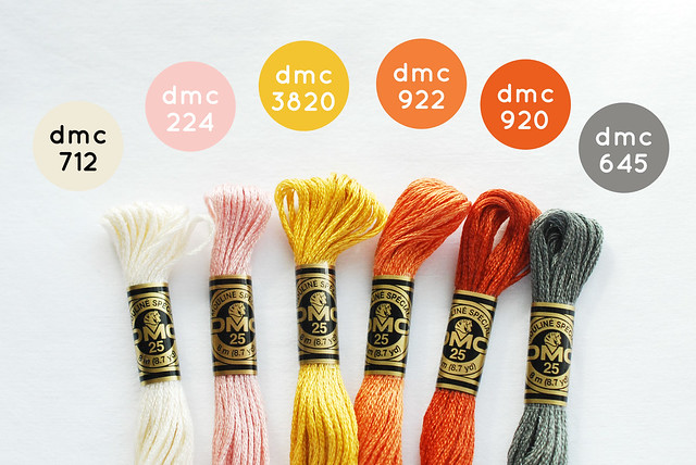 DMC colors to match Moda's Twenty Three fabric line