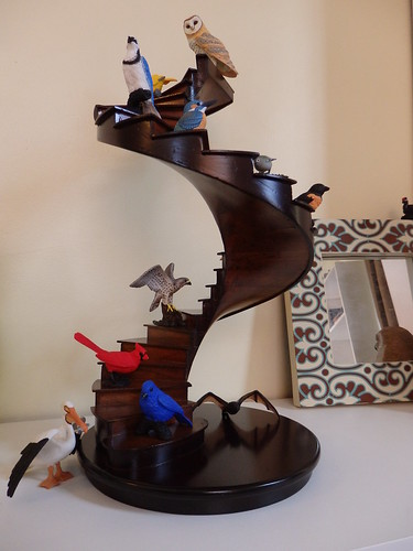 spiral staircase toy animal display