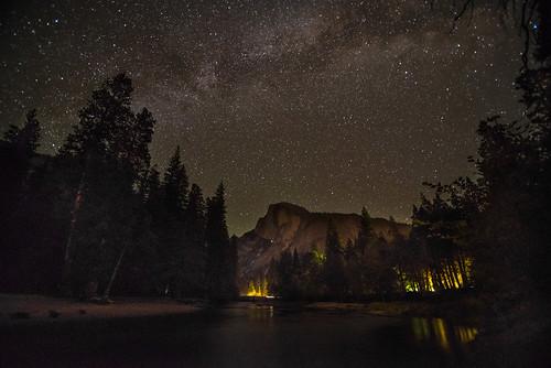 Half Dome Merced River Milky Way
