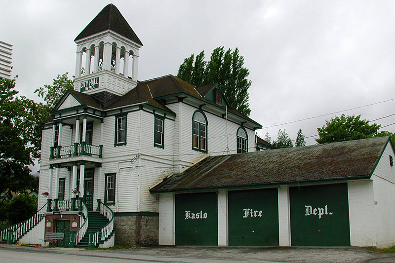 Kaslo Library and Fire Department, Kaslo, Kootenay Lake, Kootenay Rockies, British Columbia, Canada