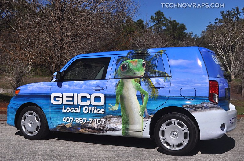 Geico car wrap installed in Orlando