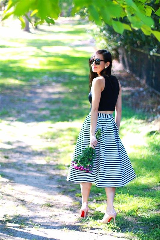 nicholas the label striped ball skirt