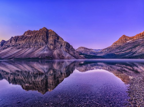canada sunrise reflections dawn bravo alberta banff bowlake crowfootmountain