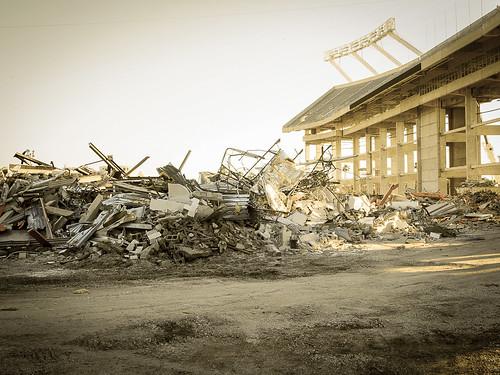 infield wreckage