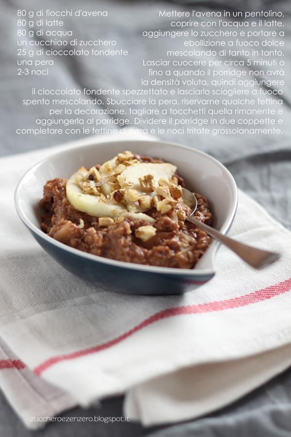 Porridge di avena al cioccolato, pere e noci
