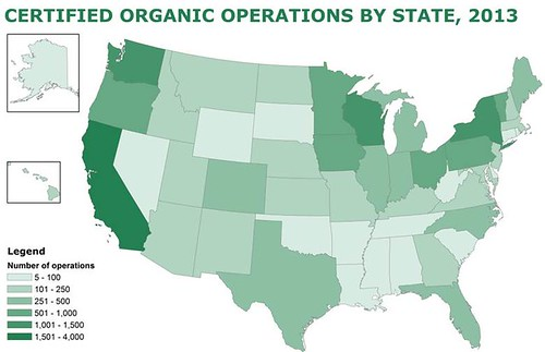 A map of organic operations by state in 2013