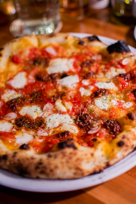 spicy nduja pizza at Pastaria