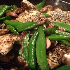 Chef'ing up some Pecan Crusted Chicken w/ Snap Peas, Mushrooms, Garlic, and seasoning.... #chef #chicken #cuisine #snappeas #delicious #haventtriedityetlol #hungry #luxury #castiron #foodnetwork #official #picoftheday #healthy #cooking #eatgood #lovewhaty