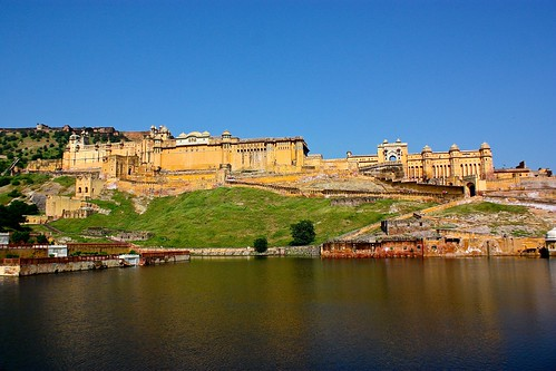 Amber Fort and its glowing reflection