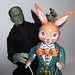 Frankenstein 's Monster Easter Rabbit Tin Toy Robot 8208