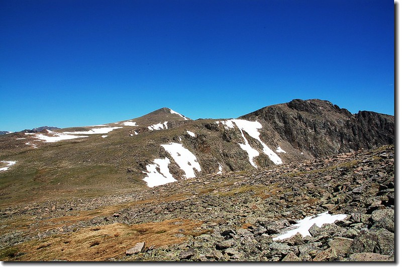 Otis Peak (R) and Hallet Peak (L) from the lower slopes of T