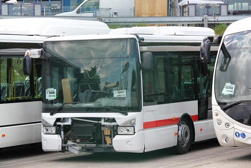 L'Urbanway n°3001 est vu en préparation chez Iveco Bus à Annonay