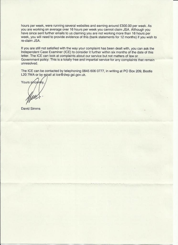 letter dwp 2