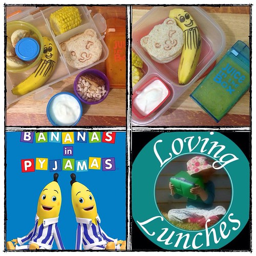 Loving some #BananasInPyjamas in the girls' lunches tomorrow… both have a banana and a @cutezcute Teddy sandwich. Yoghurt. Gogo juice in their #juiceinthebox and some of the extra corn from dinner 😊🍌🌽🐻