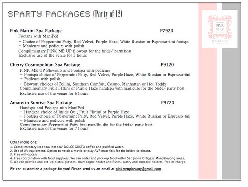 Pink Me Up Spa Party Package for 12
