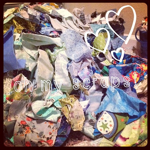 Early today my husband told me he thinks I just go in my sewing room dump out all my fabric and roll around in and toss it in the air like its money. Looking at this mess he might not be that far off! Back to organizing my scraps. #ABeautifulMess