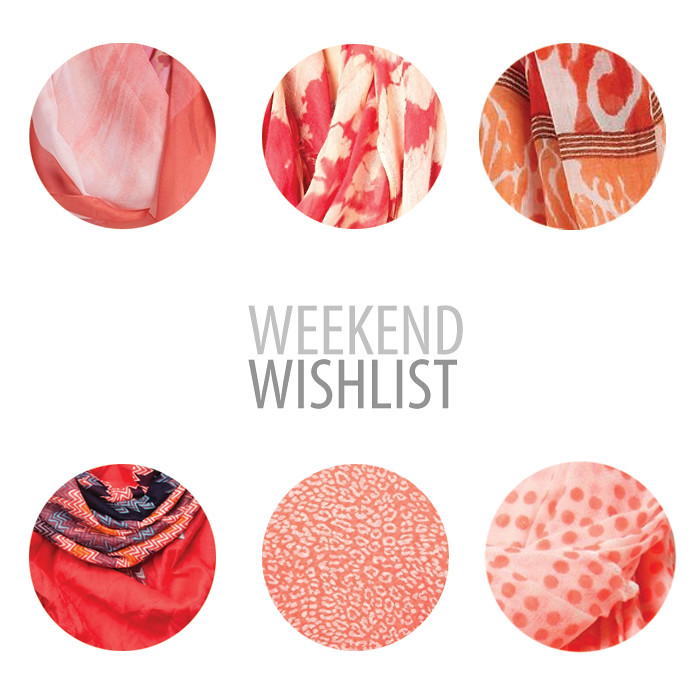 ww_scarves, wishlist, bright summer scarves, coral scarf, patterned scarf, shopping post