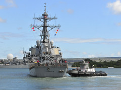 Guided-missile destroyer USS Hopper (DDG 70) departs Joint Base Pearl Harbor-Hickam July 15 to participate in an Independent Deployer Certification (IDCERT) exercise. (U.S. Navy photo by Mass Communication Specialist 2nd Class Tiarra Fulgham)