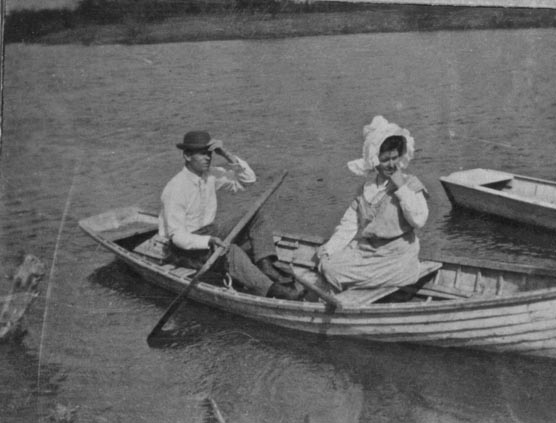 Canoeing on the river, 1908