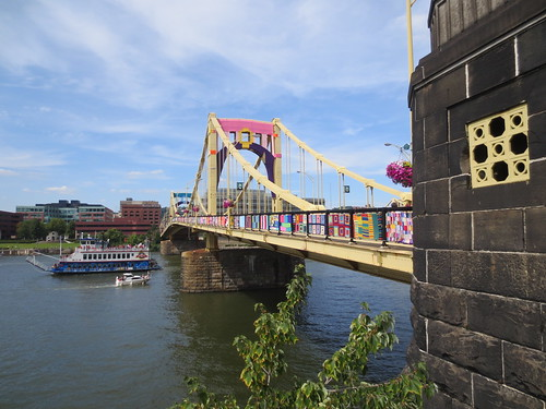 Andy Warhol bridge yarn bombed
