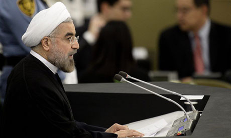 Iranian President Hassan Rouhani addressing the United Nations General Assembly in New York City on September 24, 2013. He maintained that Iran had the right to develop nuclear technology. by Pan-African News Wire File Photos