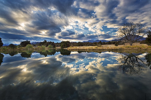 sunset newzealand cloud reflection landscape pond day cloudy mollybrown wondersofnature newcastletrack